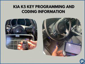 Automotive locksmith programming a Kia K5 key on-site