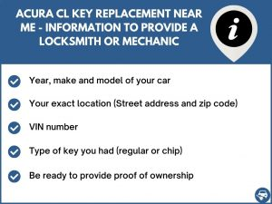 Acura CL key replacement service near your location - Tips