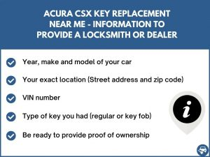 Acura CSX key replacement service near your location - Tips