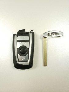 BMW key fob replacement and an emergency key to unlock the door (uncut)