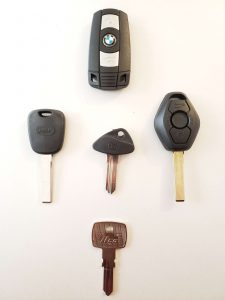 Variety of BMW keys - Different years and models