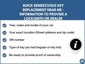 Buick Rendezvous key replacement service near your location - Tips