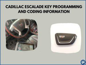 Automotive locksmith programming a Cadillac Escalade key on-site