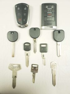 Variety of Cadillac keys - Key fob, transponder, and non-chip