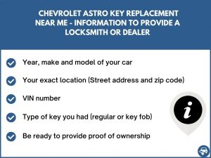 Chevrolet Astro key replacement service near your location - Tips