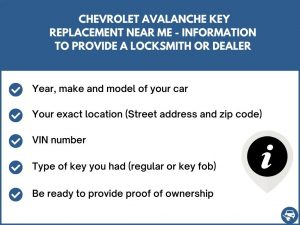 Chevrolet Avalanche key replacement service near your location - Tips