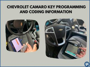 Automotive locksmith programming a Chevrolet Camaro key on-site