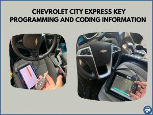 Automotive locksmith programming a Chevrolet City Express key on-site