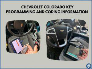 Automotive locksmith programming a Chevrolet Colorado key on-site