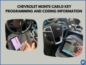 Automotive locksmith programming a Chevrolet Monte Carlo key on-site