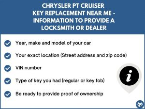 Chrysler PT Cruiser key replacement service near your location - Tips