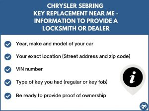 Chrysler Sebring key replacement service near your location - Tips