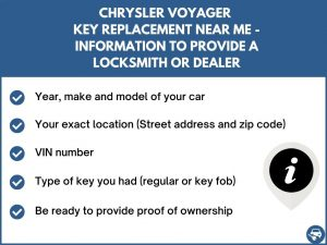 Chrysler Voyager key replacement service near your location - Tips