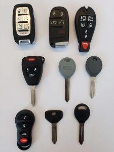 Variety of Chrysler keys - Key fobs, transponder, non chip and keyless entry