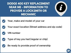 Dodge 400 key replacement service near your location - Tips
