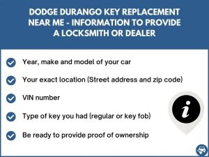 Dodge Durango key replacement service near your location - Tips