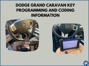 Automotive locksmith programming a Dodge Grand Caravan key on-site