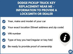Dodge Pickup Truck key replacement service near your location - Tips