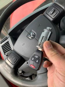 Ignition replacement and new Dodge transponder key cut and programmed