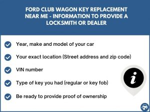 Ford Club Wagon key replacement service near your location - Tips
