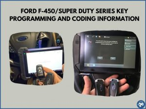 Automotive locksmith programming a Ford F-450/Super Duty Series key on-site