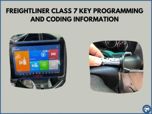 Automotive locksmith programming a Freightliner Class 7 key on-site