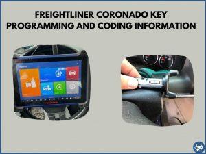 Automotive locksmith programming a Freightliner Coronado key on-site