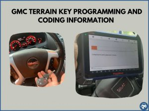 Automotive locksmith programming a GMC Terrain key on-site