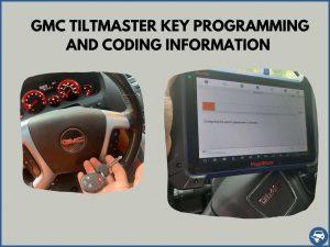 Automotive locksmith programming a GMC Tiltmaster key on-site