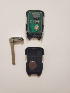The key fob on the inside - battery and emergency key