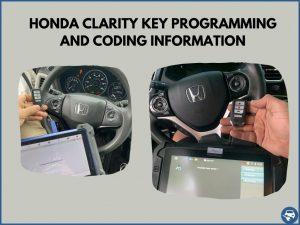 Automotive locksmith programming a Honda Clarity key on-site