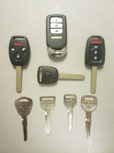 Variety of Honda keys - Key fob, transponder and non-chip