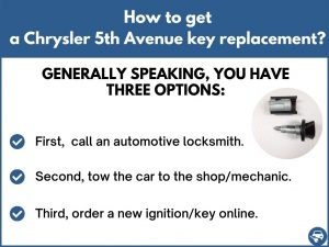 How to get a Chrysler 5th Avenue replacement key