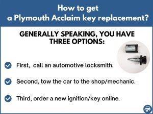 How to get a Plymouth Acclaim replacement key
