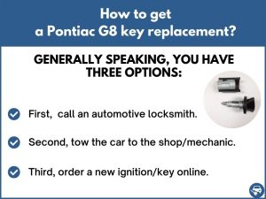 How to get a Pontiac G8 replacement key