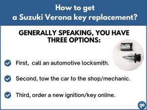 How to get a Suzuki Verona replacement key