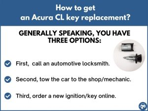 How to get an Acura CL replacement key