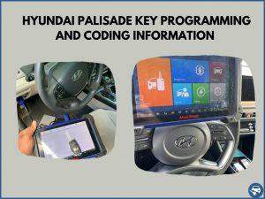 Automotive locksmith programming a Hyundai Palisade key on-site