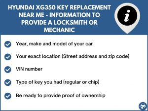 Hyundai XG350 key replacement service near your location - Tips