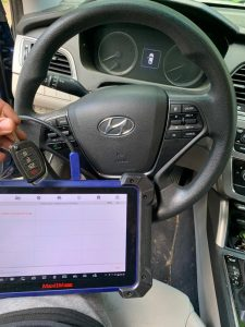 An automotive locksmith can program & cut new keys on-site for most makes & models (Hyundai transponder key)