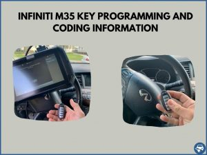 Automotive locksmith programming an Infiniti M35 key on-site