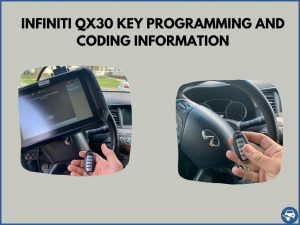 Automotive locksmith programming an Infiniti QX30 key on-site