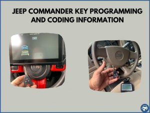 Automotive locksmith programming a Jeep Commander key on-site