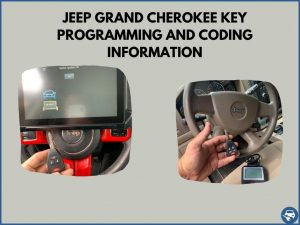 Automotive locksmith programming a Jeep Grand Cherokee key on-site