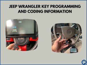 Automotive locksmith programming a Jeep Wrangler key on-site