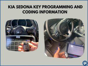 Automotive locksmith programming a Kia Sedona key on-site