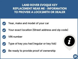 Land Rover Evoque key replacement service near your location - Tips