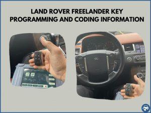 Automotive locksmith programming a Land Rover Freelander key on-site