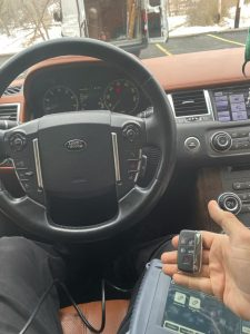 Coding machine for Land Rover key fobs used by an automotive locksmith