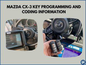 Automotive locksmith programming a Mazda CX-3 key on-site